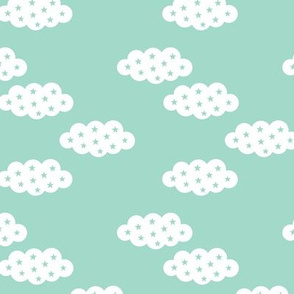 Clouds and dreams mint sky with stars scandinavian style fabric gender neutral