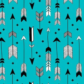indian summer scandinavian style illustration arrows and geometric crosses boys black and white blue