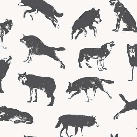 Grey Wolves on Off-white // Large-size fabric by thinlinetextiles on Spoonflower - custom fabric