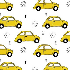 Old vintage oldtimer classic italian car scandinavian kids design black and white gender neutral mustard yellow