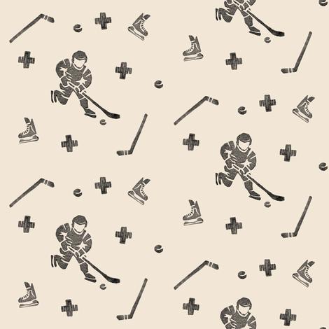 Hockey on Beige fabric by landpenguin on Spoonflower - custom fabric