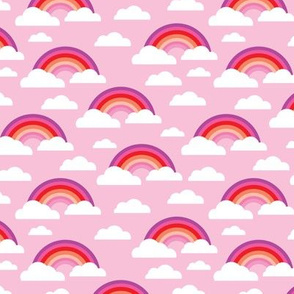 Cute colorful pink rainbow and clouds sky dreams for girls