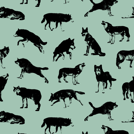 Wolves on Shadow Green // Small-size fabric by thinlinetextiles on Spoonflower - custom fabric