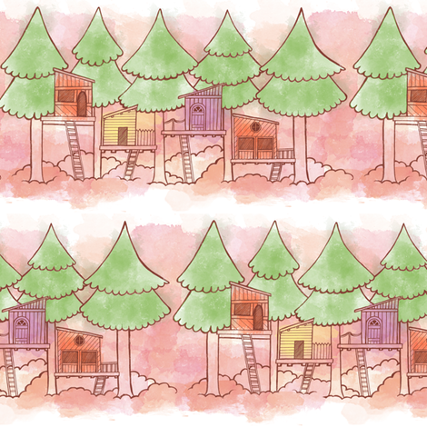 Watercolor Treehouses fabric by landpenguin on Spoonflower - custom fabric