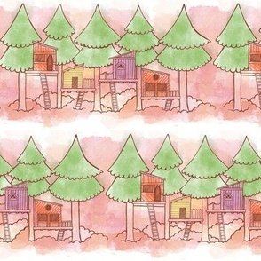 Watercolor Treehouses