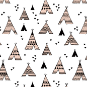 Cool scandinavian camping teepee love soft pastel geometric tent aztec indian summer coral peach