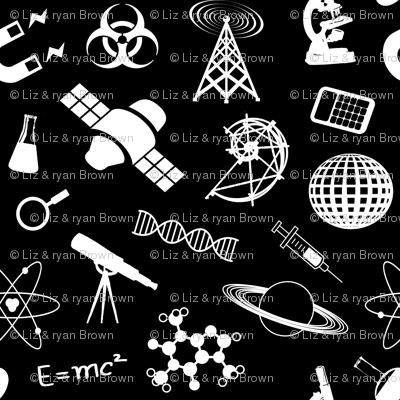 Science Symbols on Black // Small