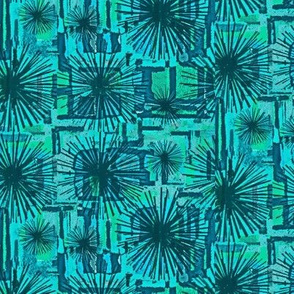 Teal Abstract Flowers