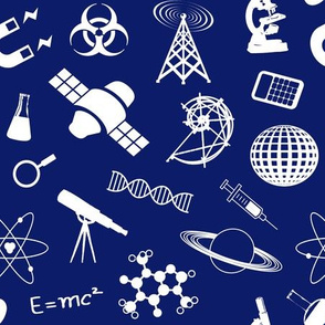 Science Symbols on Dark Blue // Large