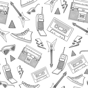 90s Life // 90s Style Illustrations on Fabric, Wallpaper & Gift Wrap // Black and White