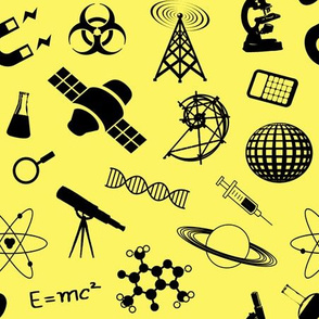 Science Symbols on Yellow // Large