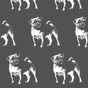 "Pug on Gray - Large (3"")"
