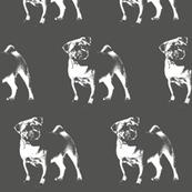 "Pug on Gray - Large (3"")"