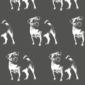Pug on Charcoal Gray // Large