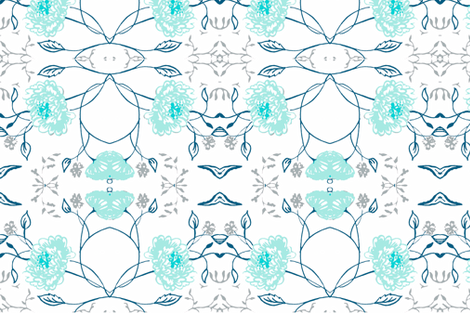 Navy_aqua_flowers_of_remembrance fabric by jennifer_rizzo on Spoonflower - custom fabric