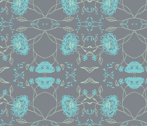 ark_Gray_aqua_flowers_of_remembrance fabric by jennifer_rizzo on Spoonflower - custom fabric