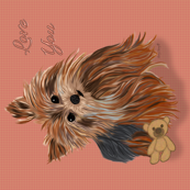 Yorkie - Pillow Lover - has matching gingham fabric.
