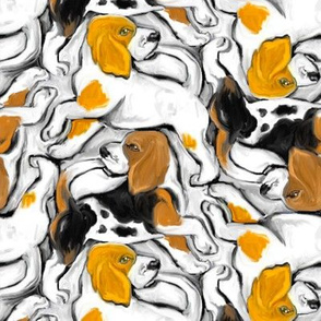 Painterly Beagle Pups Catching Tails