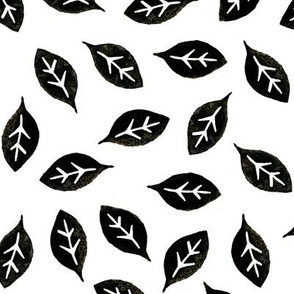 Dean's Block Print Leaves ~ Black