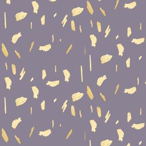 Gold paint splotch blobs daubs on dusty purple