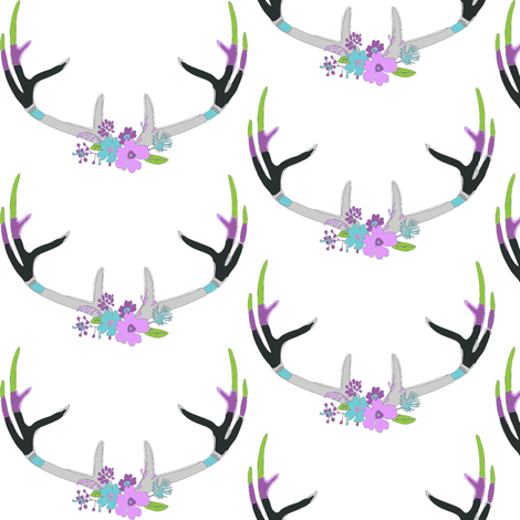 painted deer antlers fabric by lilcleo on Spoonflower - custom fabric