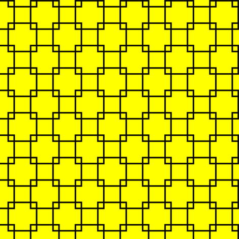 Black Overlapping Squares on Yellow fabric by mtothefifthpower on Spoonflower - custom fabric