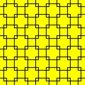 Black Overlapping Squares on Yellow