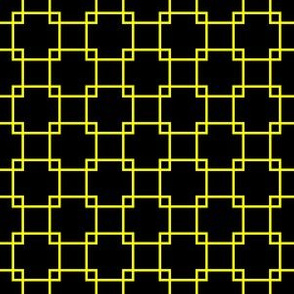 Yellow Overlapping Squares on Black