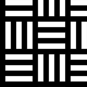 Medium White Alternating Stripes on Black