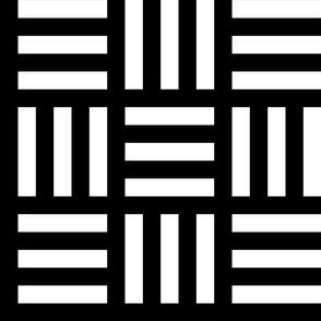 Large White Alternating Stripe on Black