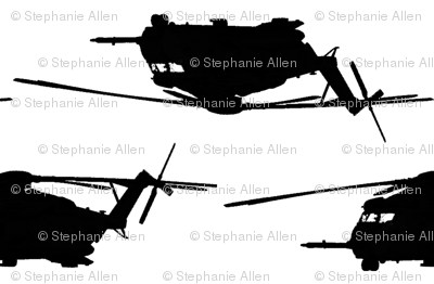 CH53 Helicopters in black offset pattern with white background