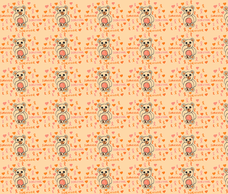 Leukemia And Kindey Cancer Teddy -ch fabric by nijibeat on Spoonflower - custom fabric
