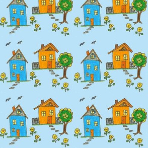 Little Houses Blue