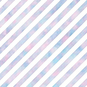 Watercolor DiagStripe Pattern Cotton Candy Colored