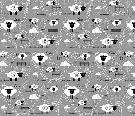 Counting Sheep // grey fabric by buckwoodsdesignco on Spoonflower - custom fabric