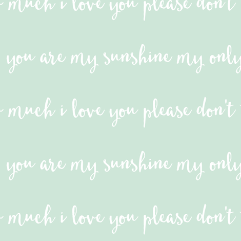 You are my sunshine // mint fabric by littlearrowdesign on Spoonflower - custom fabric