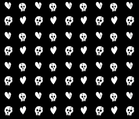 Skullz & Heartz fabric by thecraftydragon on Spoonflower - custom fabric