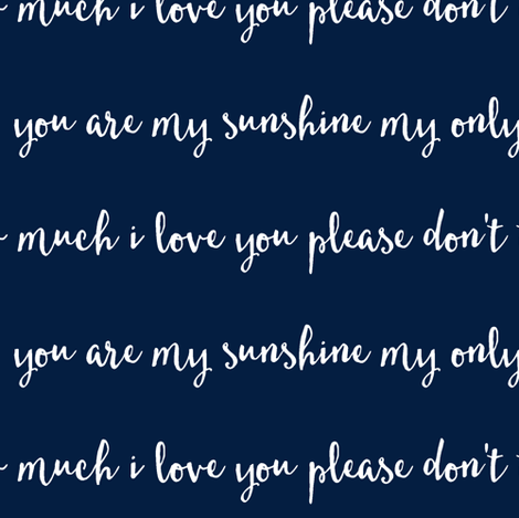 You are my sunshine // navy fabric by littlearrowdesign on Spoonflower - custom fabric