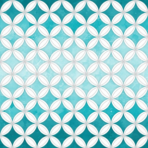 Cheater Quilt Cathedral Windows Med - White Aqua
