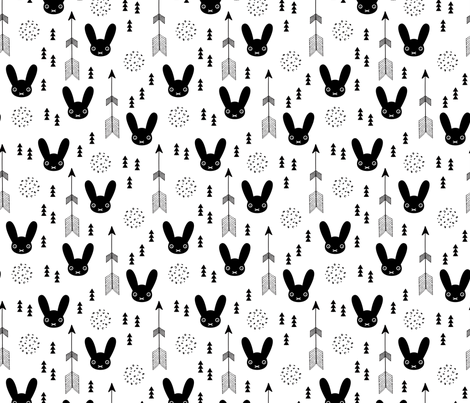Black and white kids bunny fabric with arros and geometric abstract scandinavian style details gender neutral fabric by littlesmilemakers on Spoonflower - custom fabric