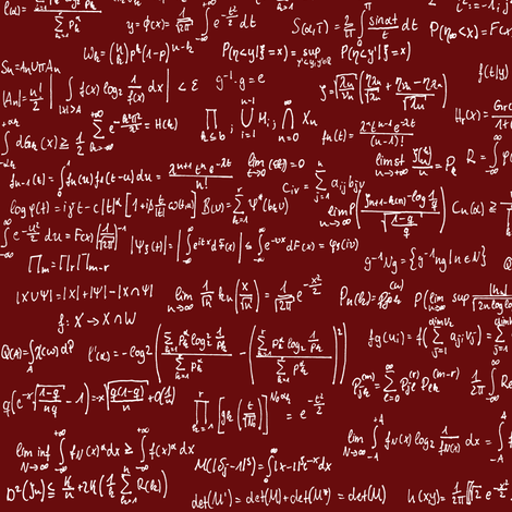 Math Notes on Maroon // Small fabric by thinlinetextiles on Spoonflower - custom fabric