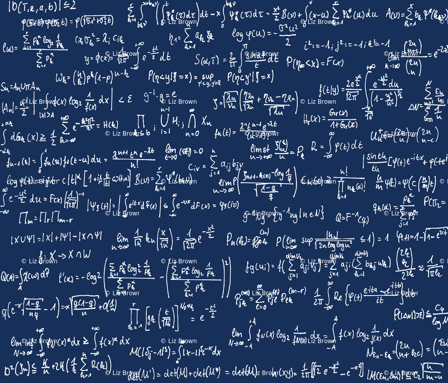 Math Notes on Navy // Small wallpaper - thinlinetextiles - Spoonflower