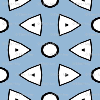 Lt Blue, White, Black Geometric