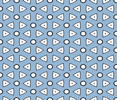 Lt Blue, White, Black Geometric fabric by mollywog2 on Spoonflower - custom fabric