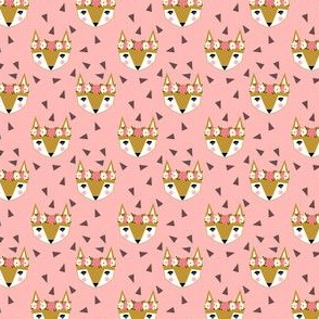 fox flowers spring flower crown triangle trendy pink girly summer may day folk cute girls