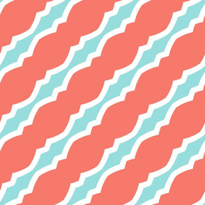 Peach, Blue, White Diagonals