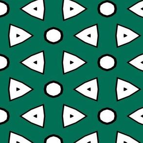Dk Green, White, Black Geometric