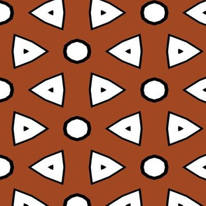 Med Brown, White, Black Geometric