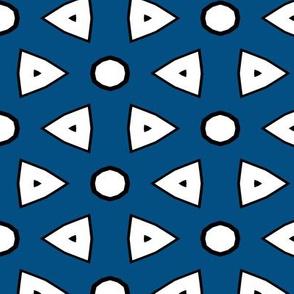Dk Blue, White, Black Geometric