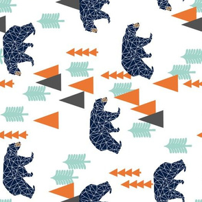 forest bear // boy nursery boys baby orange mint navy blue geometric bear mountains trees railroad